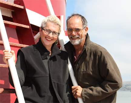 Joe and Jenny Flower aboard the converted Navy tugboat Owatonna.  ImagineWhatIf.com