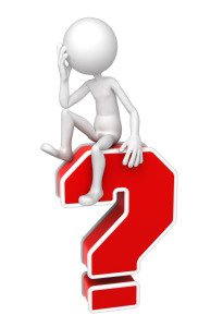 3d person sitting on red question mark.